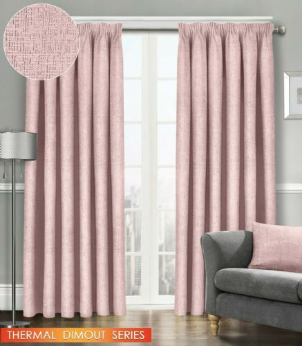 SEMI PLAIN READY MADE THERMAL WOVEN MATERIAL DIMOUT PENCIL PLEAT PAIR CURTAINS BLUSH COLOUR
